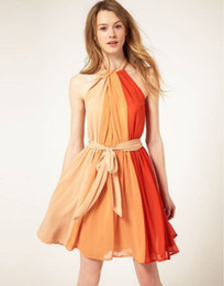 Hot Summer Europe Fashion Women's Chiffon Orange Dress Lady's Female O-neck Lace Up Causal Dresses
