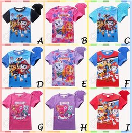Wholesale 20pcs CA3845 New Arrival Kids Paw DOG Cartoon T shirts Toddler Cotton T shirts Children Shirt Short Sleeve Patrol Dog Clothes Paw T shirt