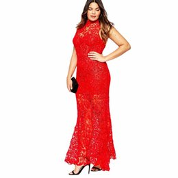 Hot selling free shipping 4XL plus size sleeveless floor length crew neck polyester material ladies' lace maxi dress