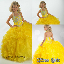 Beauty Girl's Pageant Dress Halter Crystal Organza Party Cupcake Flower Girl Pretty Dress For Little Kid
