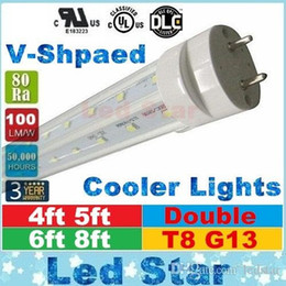 Wholesale v shaped led tubes lights ft ft ft ft t8 g13 double lines led light tubes for cooler lighting AC V UL DLC
