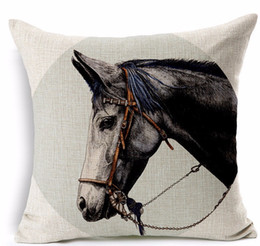Wholesale Black horse saddle pillows emoji euro case home decor pillow environment enhance gift cartoon memory decorations