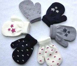 Wholesale 12pair Kids Dot Star Heart Pattern winter Mittens Baby Knitting Warm Soft Gloves Kids Boys Girls Mittens Unisex Children s Mittens