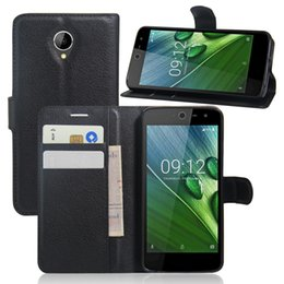 Wholesale Lichi PU Leather Wallet Case for Acer Liquid Zest z525 Protective Stand with Card Slot Mobile Phone Cover for Acer colorful