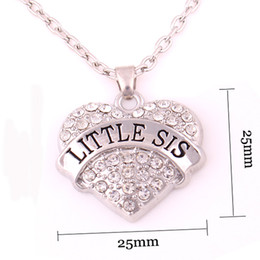 New Arrival Hot Selling rhodium plated zinc studded with sparkling crystals LITTLE SIS heart pendant link chain necklace