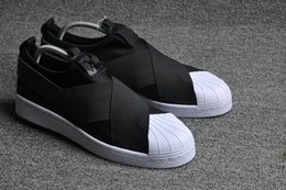Wholesale Best Qualilty Summer SUPERSTAR SLIP ON Sandals Loafers For Men Women head crossed strap black and white low Tops unisex sneakers