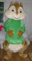 Wholesale 0524 adult green alvin the chipmunk mascot costume with mini fan inside the head for sale