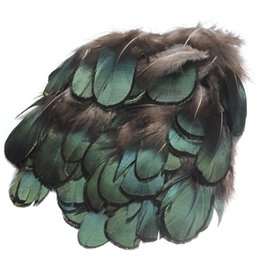 Wholesale 50pcs set Beautiful Natural Green Pheasant Feathers For Crafts Millinery Embellishments DIY Handmake Arts Material Accessories