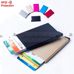 Wholesale Automatic Pop Up Click Slide Card Holder Thin Metal RFID Card Protector Cases Slim aluminium Credit Card Holder Wallet Z308