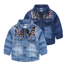 quality Fall baby clothes Nations contrast denim shirts wash white blue wholesale boy little middle Kids child Tops 3-9years free shipping