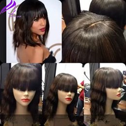 Wholesale News Synthetic Lace Front bob Wigs with Full Bangs Heat Resistant Fiber natural Wavy Syntheic Wigs Synthetic celebrity short Lace Front Wigs