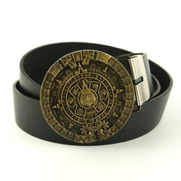 Wholesale Men fashion belts aztec calendar belts for men cowboys belt buckles faux leather belts cintos masculinos