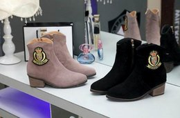Wholesale ASH short boots woman Europe and America Luxury Genuine Leather Western style Ashankle boot using open wire insert made of suede