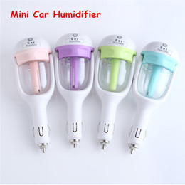 Wholesale Hot Nanum Car Plug Air Humidifier Purifier Auto Mini Car Humidifiers Essential Oil Diffuser Mist Maker Mini Fogger DHL Free