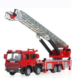 Wholesale Model Cars Diecast Car Model Fire Engine Toy Trucks Trailers Alloy Car Glow LED Car Kids Toys Gift Items Cars