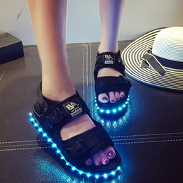 Celebrity Same Paragraph Sandals Summer Women Light Up LED Platform Shoes High Heels Waterproof Casual Hook&Loop Lazy Sapatos