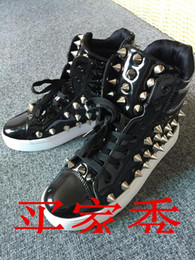 Wholesale Tide Men s Personality Hip hop Casual Hip Hop Rivet Punk Shoes High shoes Coat of paint Sneakers Ghost step Dance Shoes
