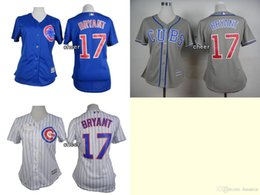 Wholesale 2016 Newest Women s Chicago Cubs bryant White Stripe Blue Grey Women Cool Base Jersey Baseball Jerseys Best Quality Low P