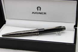 Free Shipping ! ! Aigner Copy Gift Pen Black Metal Clip Up Black Paint Ballpoint Pen Black Wood Box
