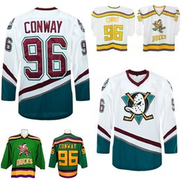 Hot sale 2016 New Mens 96 Conway Mighty Anaheim Ducks Cheap shirts White Green Yellow Best quality Ice Hockey Jersey