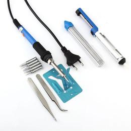 Wholesale EU plug w v Adjustable Temperature Soldering Iron Kit Tips Desoldering Pump Soldering Iron Stand Tweezers Solder Wire