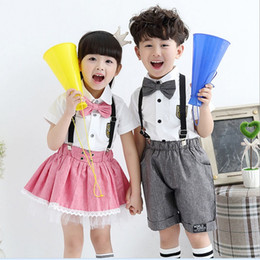 Wholesale 2016 Boys Girls School Uniform Short Sleeve T shirt Suspender Skirt Cotton Student Dress Princess Children Cloth KB419
