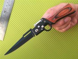 Wholesale AK47 RIFLE Gun Shaped automatic Folding blade knife Pakka Wood Handle Cr13 Plain Black finish Folder knives with LED FlashLight Free DHL