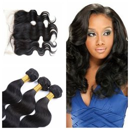 Peruvian Lace Frontal Bundles Brazilian Lace Frontal With 3Pcs Good Quality Body Wave Natural Black Human Hair Free shipping G-EASY