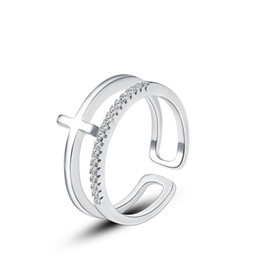 Wholesale MY sterling silver ring opening silver cross jewelry trade in Europe and America Korean jewelry ring