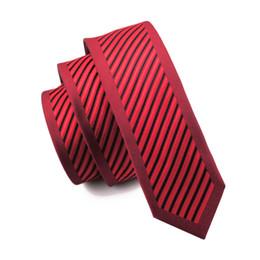 Brand Business Slim Ties Gravata Red Black Stripes Neck Tie New 5.5cm Silk Ties For Men Wedding Neckties E-247