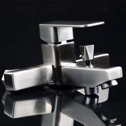 Sanitary Products Stainless Steel Drawing Hot And Cold Bathtub Shower Faucet Square Trigeminy Water Tap