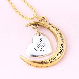 Wholesale 2016 Hot Styles Heart I Love You To The Moon and Back Necklace Lobster Clasp Pendant Necklaces quot