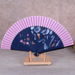 Wholesale 5Pcs Mix Color Personalized Printing Engrave Logo On Ribs Wooden Bamboo Hand Silk Wedding Fans