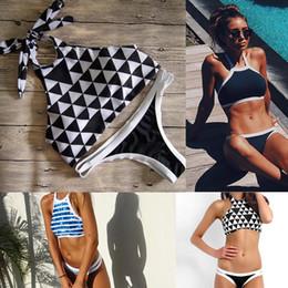 New Women Striped   Plaid Low waist Triangle bikinis set hang high neck Halter Swimwear Young girl Swimsuit bathing suit