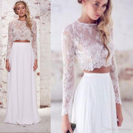 2016 Hot Sale Two Pieces Bohemian Beach Wedding Dresses Chiffon Ruched Floor Length Wedding Gowns Spring Lace Long Sleeve Wedding Dresses