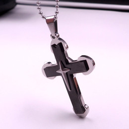 Men's fashion cool black cross Stainless steel pendant selectable style necklace