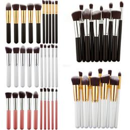 Professional 10pcs Black Gold Makeup Brushes Set Beauty Foundation Kabuki Brush Cosmetics Make up Brushes Kit Tools