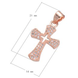 Hot Sale Charm Necklace Cross CZ Micro Inlay Pendant Plated More Colors For Choice 21x14mm Hole:About 3.6mm 10PCS Lot Free Shipping