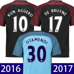 Wholesale 2016 manchester city home away soccer jersey kun aguero silva sterling Camiseta de futbol top thailand quality maillot de foot