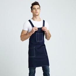 Wholesale Newest Women Man Cotton Denim Apron Home Kitchen Baking Cafe Shop Waiters Jeans Apron With Pocket Adjustable Bib