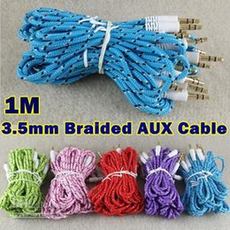 3.5mm Audio AUX Cable Braided Woven Fabric wire Auxiliary durable Cords Jack Male to Male M  M 1m 3ft Lead good quatily