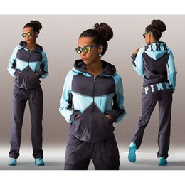 Wholesale Sports Suit Jogging Suits For Women Letter vs Pink Print Sport Suit Hoodies Sweatshirt Pant Jogging Sportswear Costume piece Set