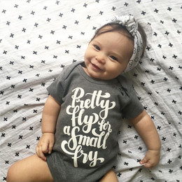 Wholesale Cotton Newborn Baby Boys Girls Bodysuit grey kids boy girl Romper high quality children pretty fly letter print Jumpsuit Clothes top Outfits