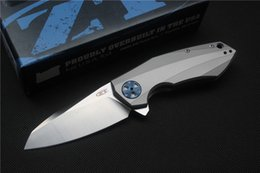 Wholesale High quality ZT0456 Flipper folding knife bearing D2 blade TC4 handle outdoor Survival camping hunting pocket knife EDC tool