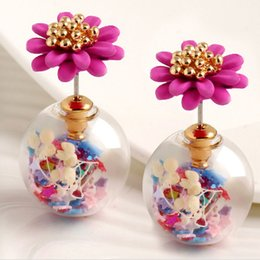 Wholesale Fashion European and American candy colored flower stud earrings five pointed star transparent spherical earrings jewelry