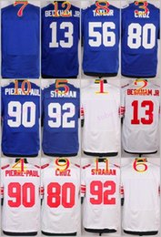 Wholesale Elite Football Stitched Odell BECKHAM JR Blank Taylor Cruz Pierre paul Strahan White Blue Jerseys Mix Order