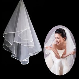 Wholesale Free Ship White Ivory T Layer without Comb Wedding Bridal Veils Tulle Satin Ribbon Edge Cheap Simple Modest Veil for Wedding Bride
