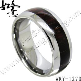 Edony Wood Inlay Tungsten Carbide Rings 8mm for Men WRY-1270