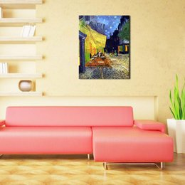 Wholesale 1 Picture Combination Cafe Terrace at Night Vincent Van Gogh Artwork Oil Paintings Reproduction Landscape Wall Art for Home Decorations