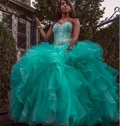 2019 Sparkly Hunter Green Quinceanera Dresses Ball Gown Sweetheart Crystal Beads Lace up Plus Size Prom Party Gown Organza Sweet 16 Dress BB